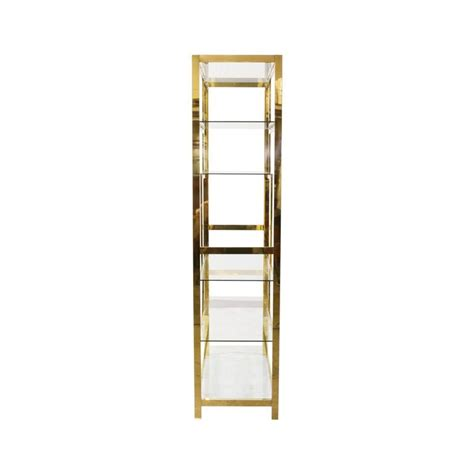 midcentury brass etagere display shelf unit for sale at