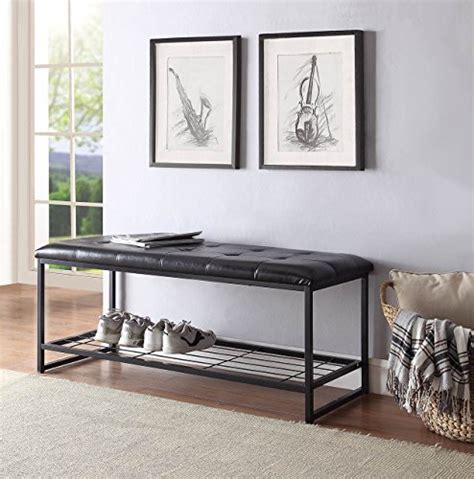 bonded leather storage bench black bonded leather shoe storage bench for entryway bedroom 48 wide pongia com
