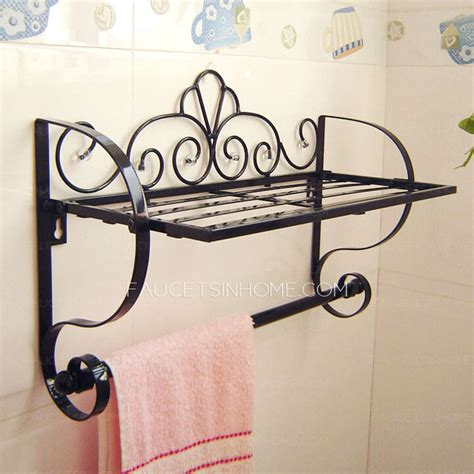 black wrought iron bathroom shelves also rustic wrought