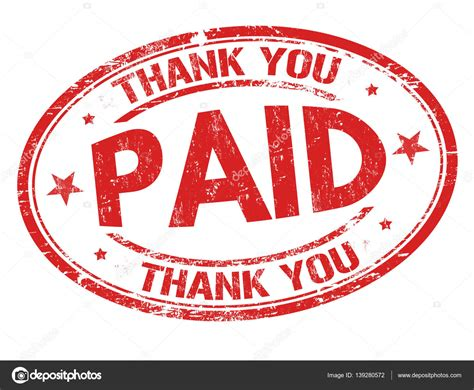 paid rubber st paid and thank you sign or st stock vector