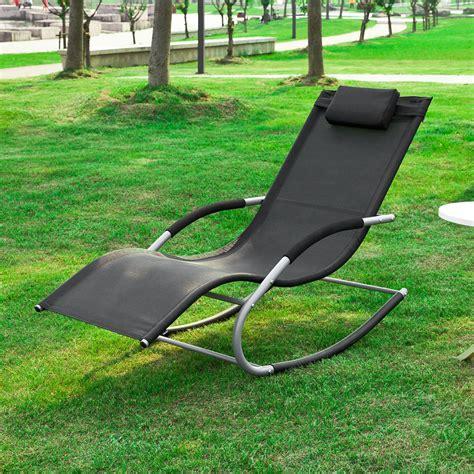 Rocking Garden Lounger Sobuy 174 Garden Rocking Deck Chair Sun Lounger With Footrest Recliners Ogs28 Sch Uk Ebay