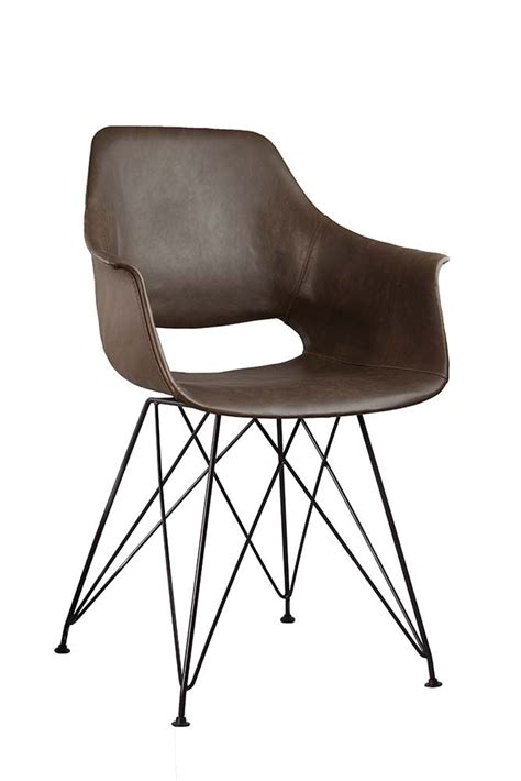 faux leather dining chair with black hairpin legs brown