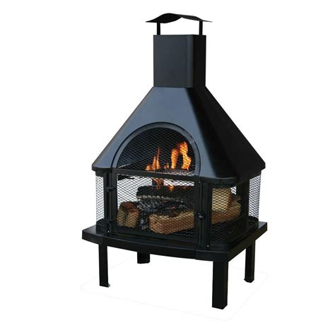 uniflame 45 in outdoor fireplace with chimney waf1013c