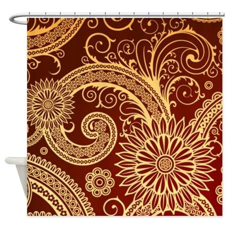 red and gold shower curtain red and gold floral swirls shower curtain by cheriverymery