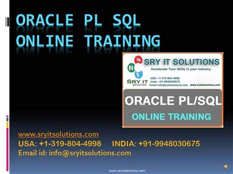 oracle tutorial for experienced oracle pl sql training pl sql online training sry it