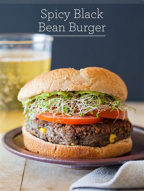 spicy black bean burger vegetarian burger recipe spoon fork bacon