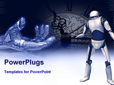 robot powerpoint template robotic and robot representing future technology