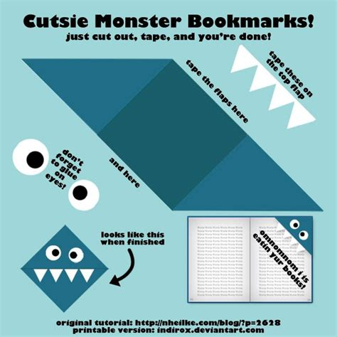 printable monster bookmarks monster bookmark marcadores de livros pinterest