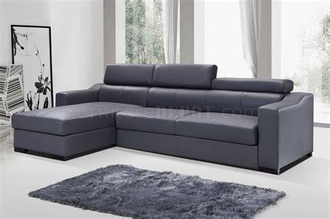 ritz sleeper sectional sofa in grey leather by j m