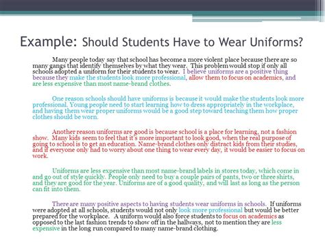 Should Students Wear Uniforms In School Essay by How To Write A Series Of Paragraphs Expressing An Opinion