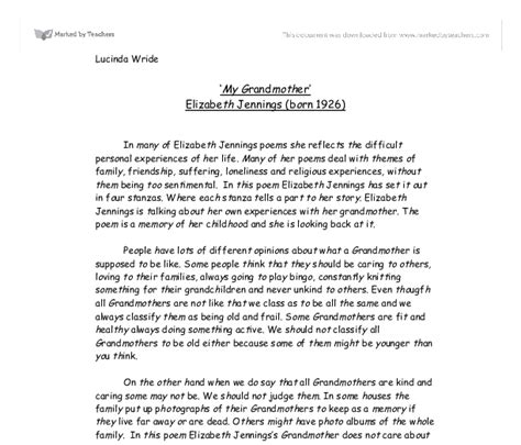 My Grandmother Essay For by My Grandmother By Elizabeth Born 1926 A Level Marked By Teachers
