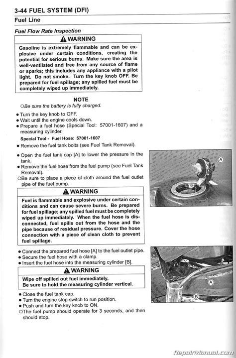 service manual manual lock repair on a 2010 subaru 2010 2014 kawasaki zg1400c d concours abs non abs motorcycle service manual