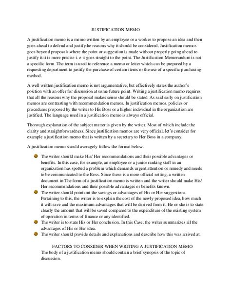 sle of justification report in memo format