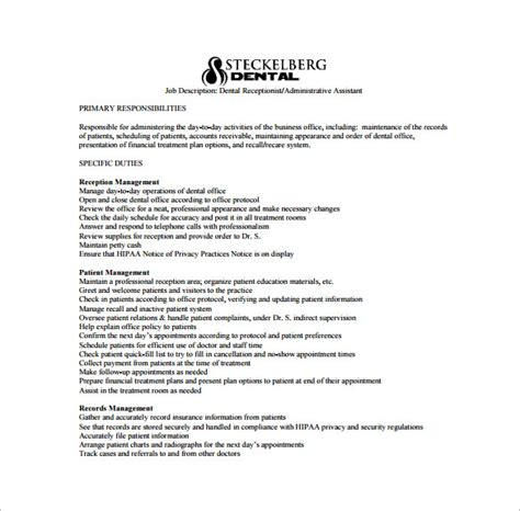 9 dental assistant job description templates free