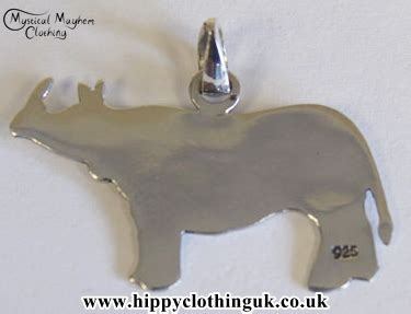 Rhino Handmade - rhino handmade bali silver silhouette pendant and necklace