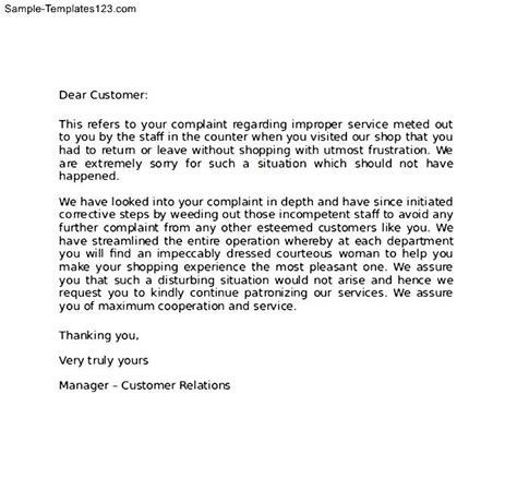 Apology Letter To Guest Complaint Sle Apology Letter To Customer For Error Sle Templates