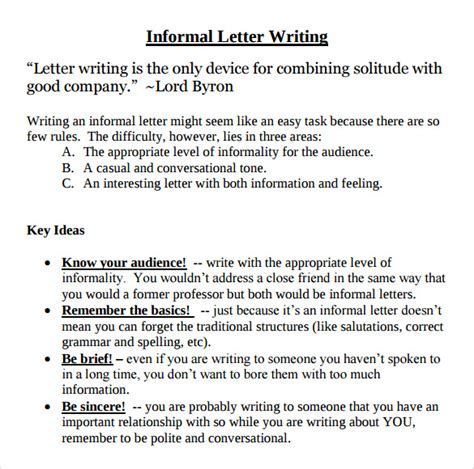 Business Letter Writing Language And Tone Informal Letter Format 7 Free Sles Exles Format