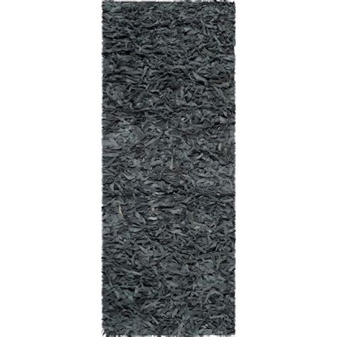 Grey Leather Rug by Safavieh Leather Shag Leather Runner Rug Lsg511n 26 In
