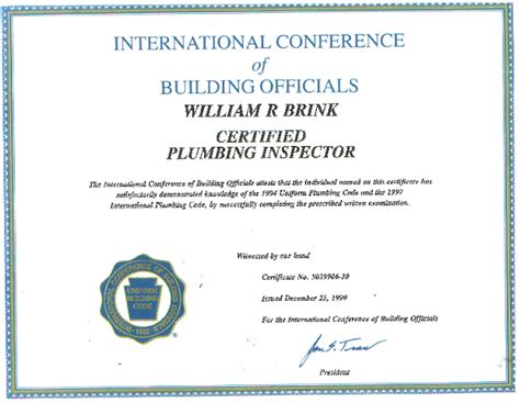 Plumbing Inspector Certification by San Diego Plumber Certifications