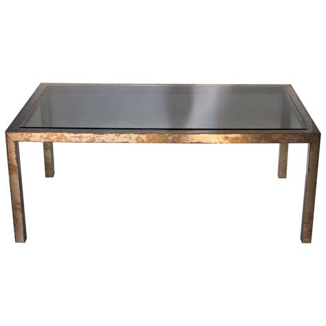 parsons dining room table acid washed brass parsons dining table at 1stdibs
