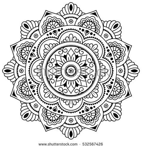 vector henna tatoo mandala mehndi styledecorative stock