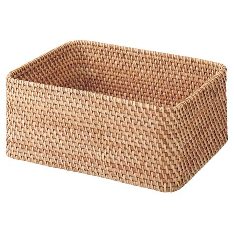 muji baskets stackable rattan basket rectangular m w36 d26 h16cm muji