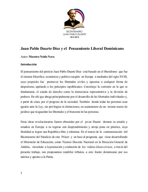 biografia corta de juan pablo duarte juan pablo duarte diez y el pensamiento liberal dominicano