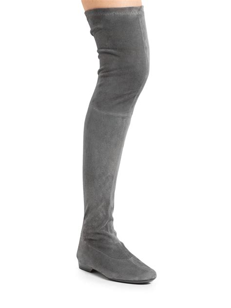 robert clergerie suede paneled the knee boots in gray