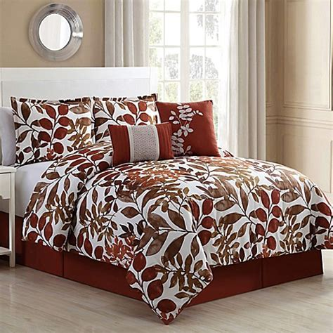 fall bedding sets autumn 6 piece comforter set in spice brown bed bath beyond