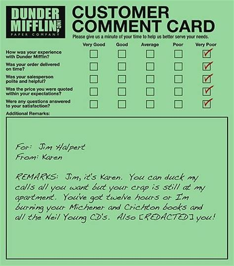 Comment Card Template For Office by 13 Best Dunder Mifflin Complaints Images On