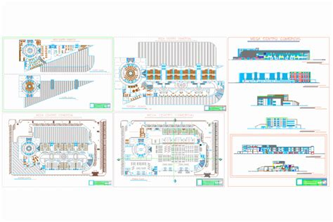 mall sections bloques cad autocad arquitectura download 2d 3d dwg