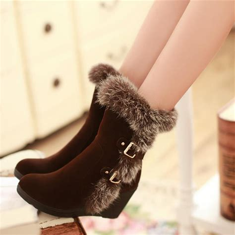 high heels fashion buckle snow boots boots for black