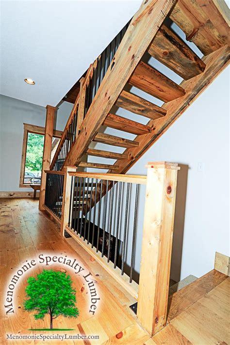 salvaged timber pine slab stairway custom handrail
