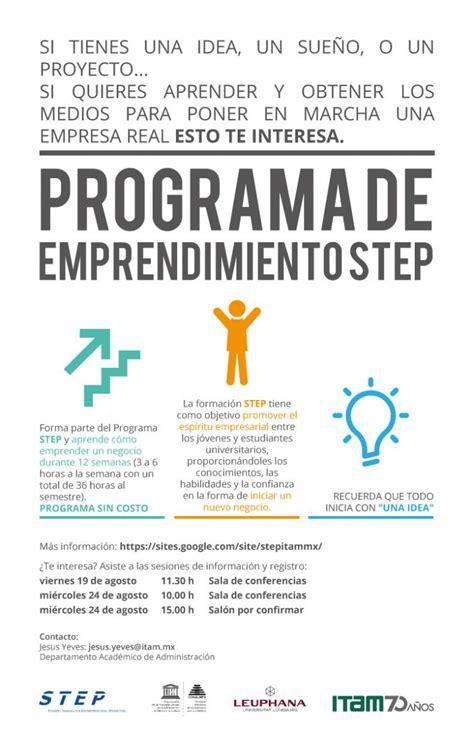 Itam Mba Curriculum by Programa De Emprendimiento Step Itam