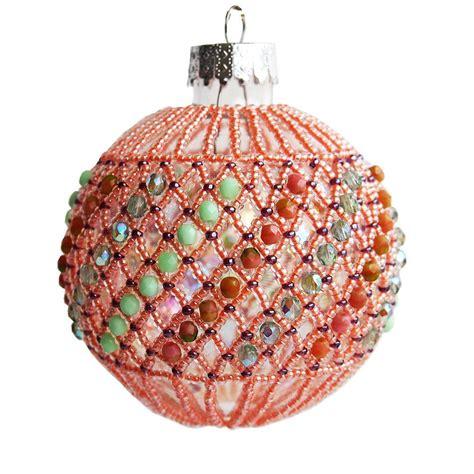 peachy  green christmas ornament handmade christmas