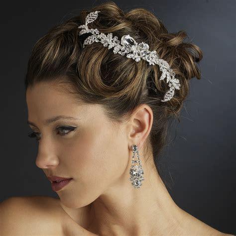 Wedding Hair Accessories Direct by Silver Clear Rhinestone Leaf Side Side Comb 5672