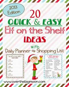 20 on the shelf ideas with shopping list and daily