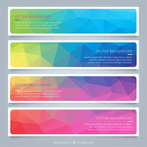 Polygonal Colourful Web Banners Vector Free Download Hp Banner Paper Template