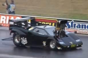 Drag Race Lamborghini Lamborghini Countach Drag Car Hits The Wall