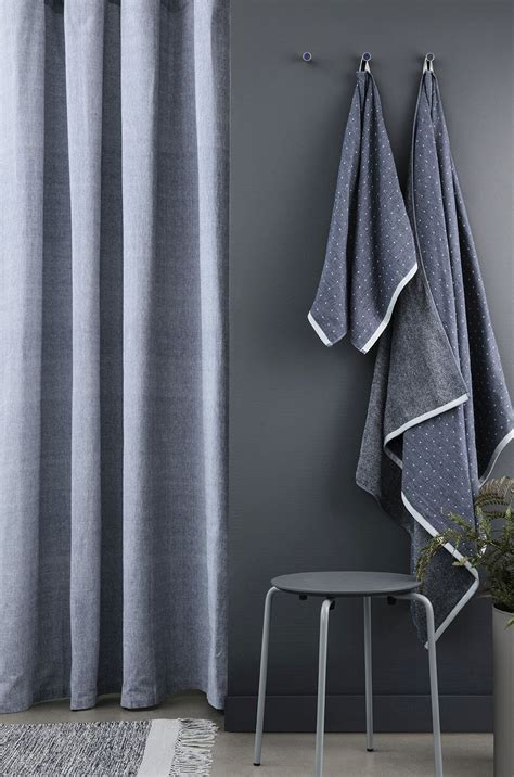 blue chambray curtains chambray shower curtain in blue design by ferm living