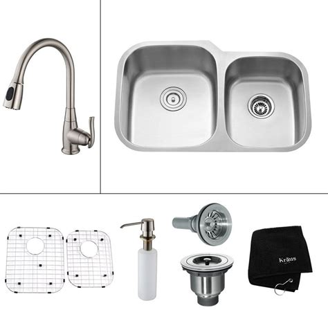 All In One Kitchen Sinks Kraus All In One Undermount Stainless Steel 32 In Basin Kitchen Sink With Faucet And