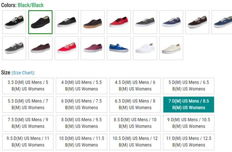 shoe size chart vans toms mens womens size conversion images
