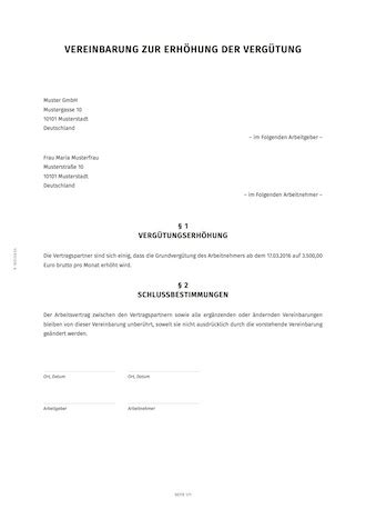 schriftliche vereinbarung einer gehaltserhoehung smartlaw