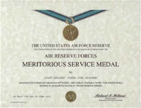 air reserve forces meritorious service medal certificate