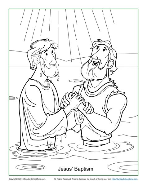 pin jesus baptism coloring page pictures on pinterest