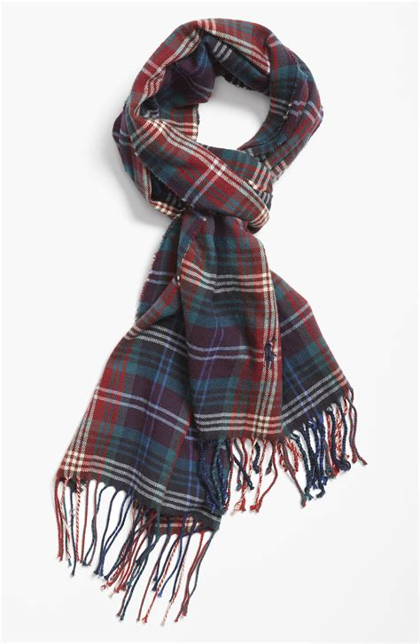 polo ralph plaid cotton scarf in for burnt