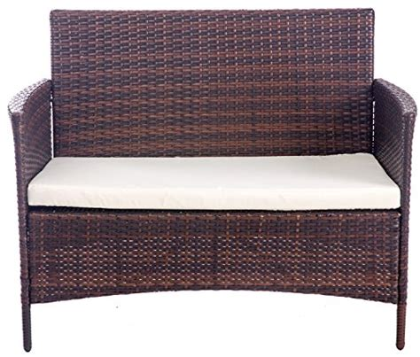 merax 4 pcs patio rattan furniture set cushioned outdoor