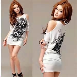 Women t shirt mini dress sexy cotton casual off shoulder long flowers