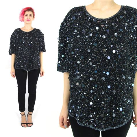 80s black sequin blouse beaded silk sequin top indian silk