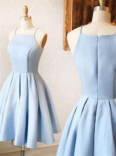 light blue satin dress a line spaghetti straps sleeveless light blue satin